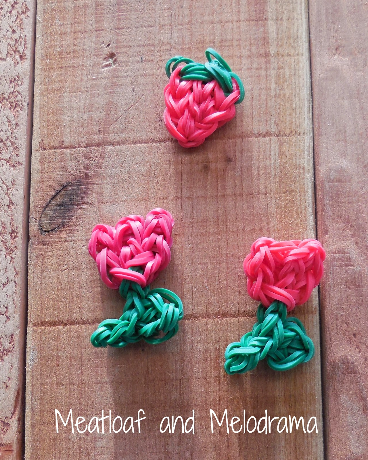 Rainbow Loom strawberry, tulip and rose charms
