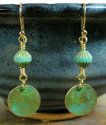 Libellula Jewelry:  Green patina etched brass earrings