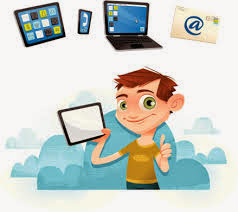 Cartoon image of a guy and a computer,phone,and a tablet