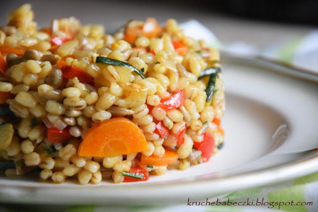 Kaszotto, pęczotto z warzywami i słonecznikiem
