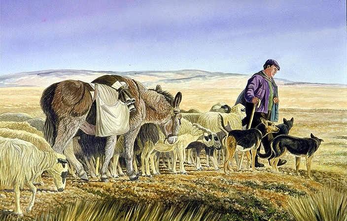Dibujo del pastor Kaldi, con su rebaño de cabras