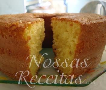 receita de bolo delicioso preparado com raspas e suco de laranja