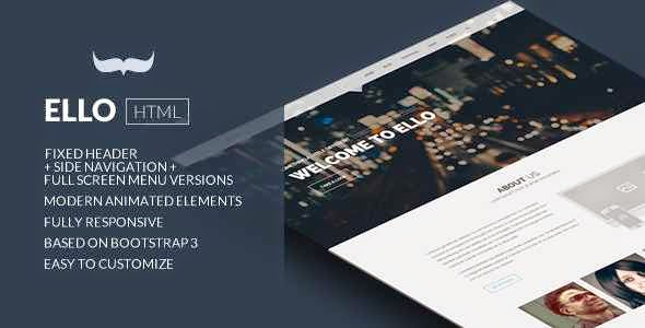 Ello - Responsive Bold Multi Page / One Page Template