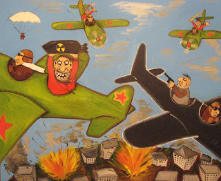 Planes bombing city, fighting in sky, foreign war, democracy, hate, red stars wings, funny pictures, comics