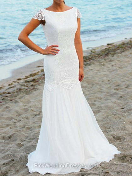 Trumpet/Mermaid Sweep Train Lace Chiffon Ruffles Bateau Wedding Dresses