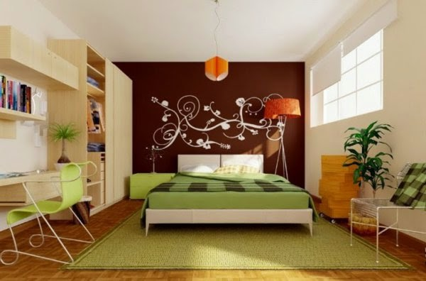 bedroom wall decor ideas creative wall design with orange lamp - Bedroom Wall Decorating Ideas