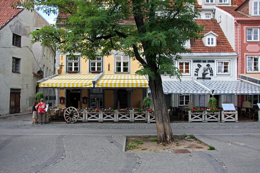 Pormenor de Praça com os estabelecimentos comerciais bem cuidados, com toldos nas esplanadas. Uma árvore em primeiro plano