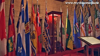 flags of the provinces and ceremonial baton Parlament Ottawa