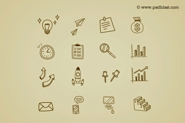 Hand Drawn Business Icon PSD