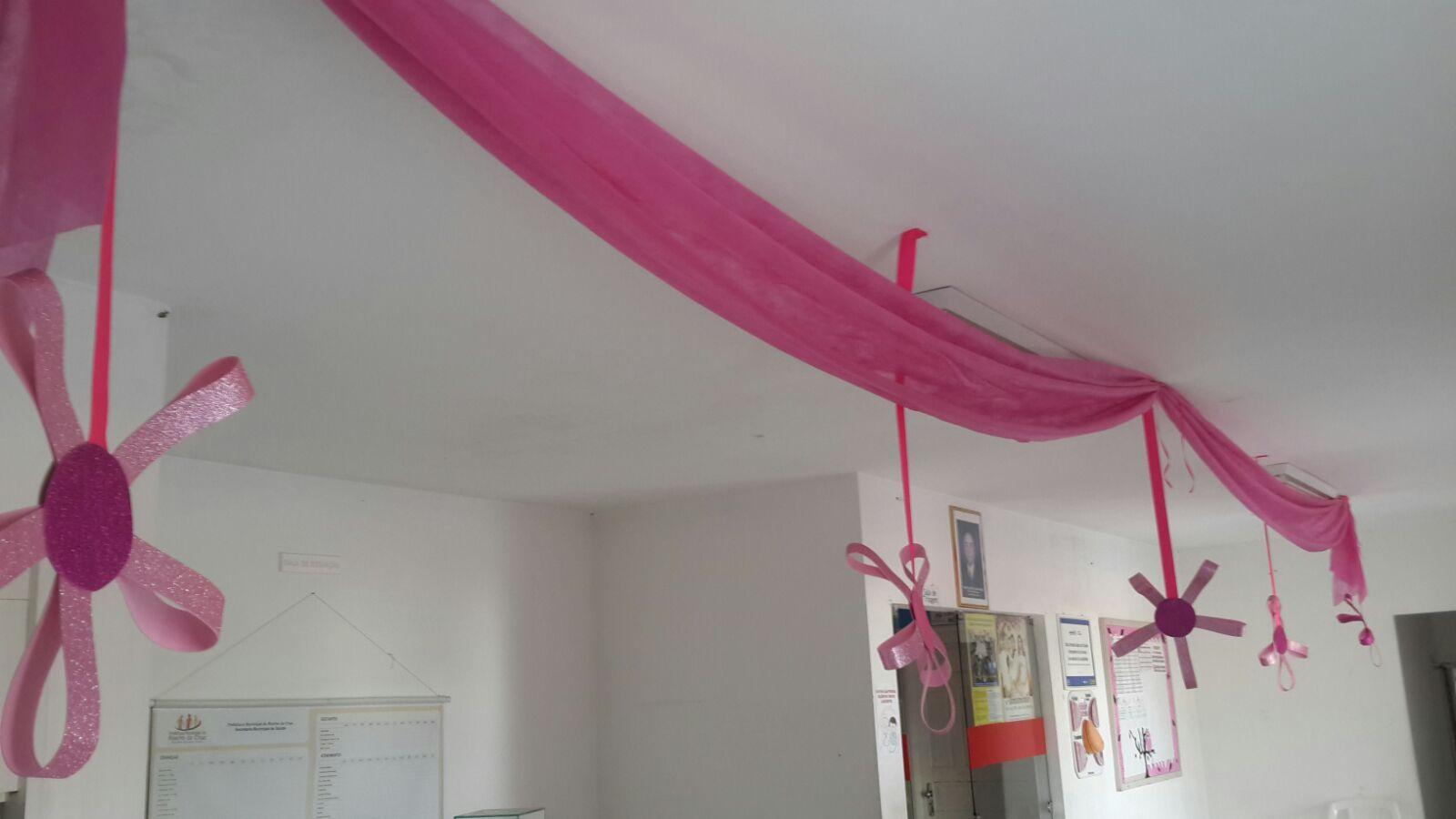 Blog Prefeitura Municipal de Riacho da Cruz RN Equipe de Saúde realiza Decoraç u00e3o do Outubro  -> Decoração Outubro Rosa Simples