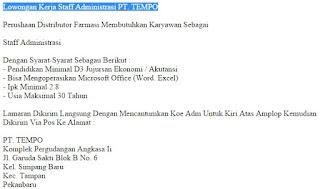 Lowongan Kerja Staff Administrasi PT. TEMPO