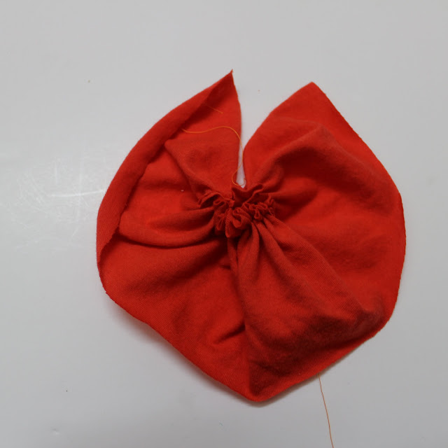 sewing a flower fabric