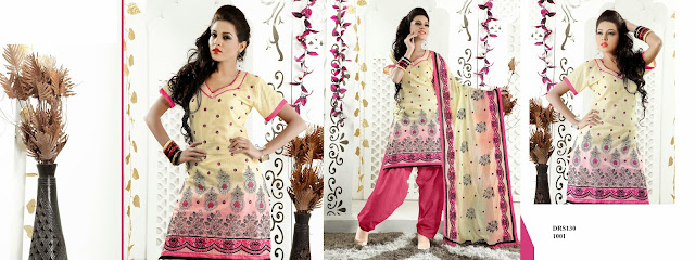 Patiyala Style Embroidered Dress Material