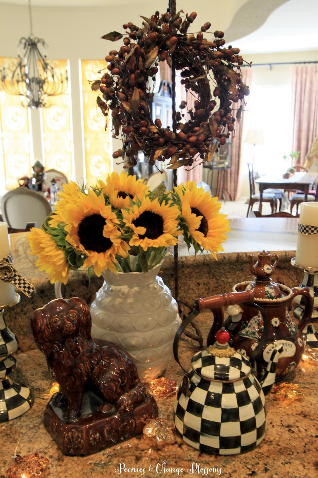 Peonies and orange blossoms early fall centerpiece decor for Mackenzie childs kitchen ideas