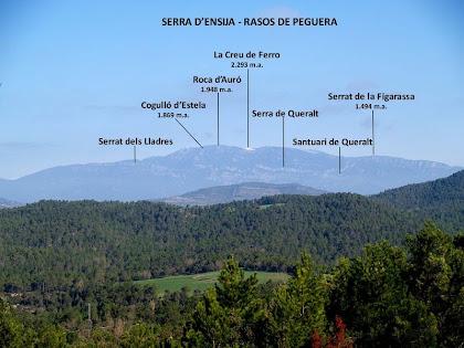 Les serres d'Ensija i Rasos de Peguera des de la vessant de migdia de la Vall de la Riera de Merlès