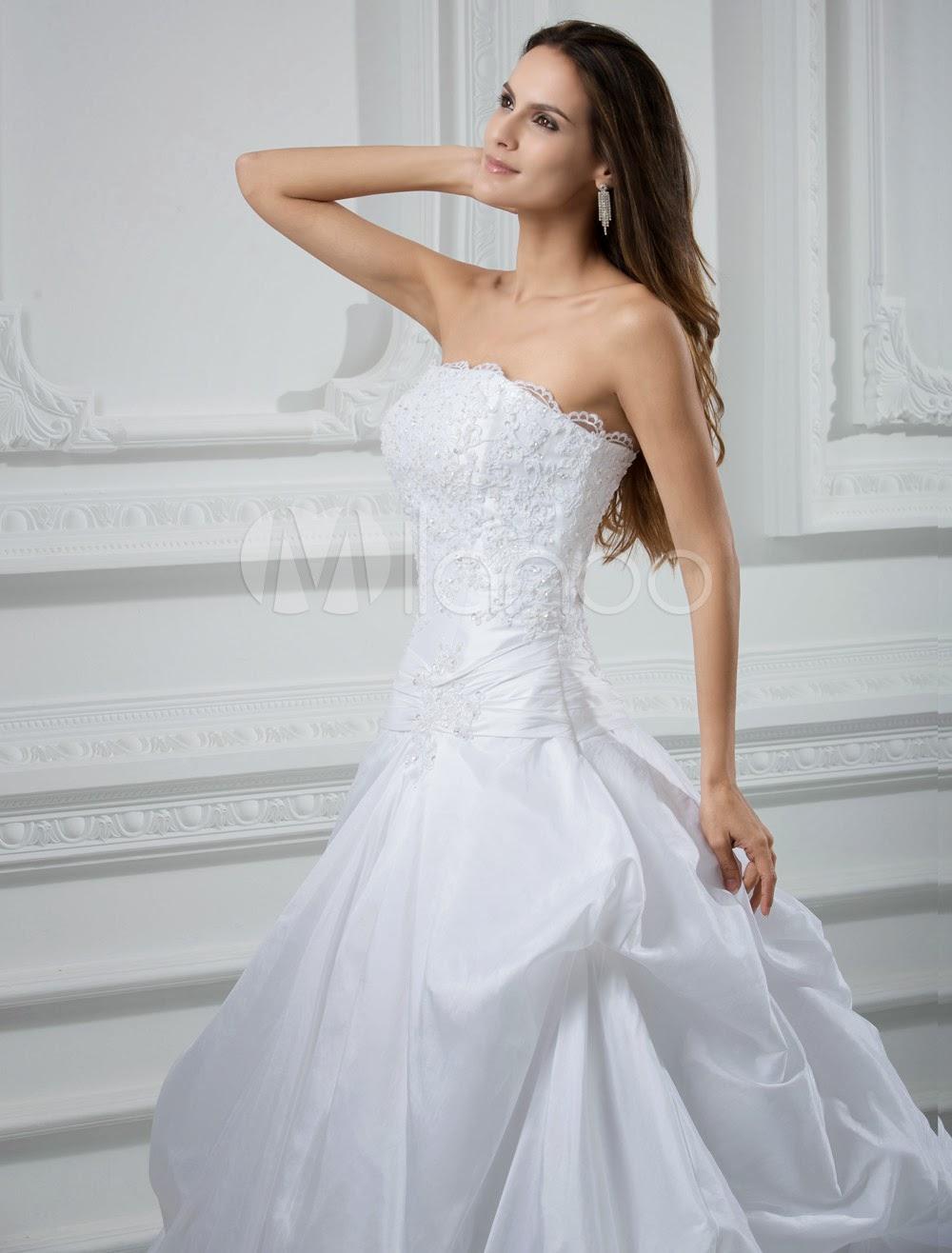 China Wholesale Dresses - Gorgeous A-line Strapless Beading Pongee Wedding Dress