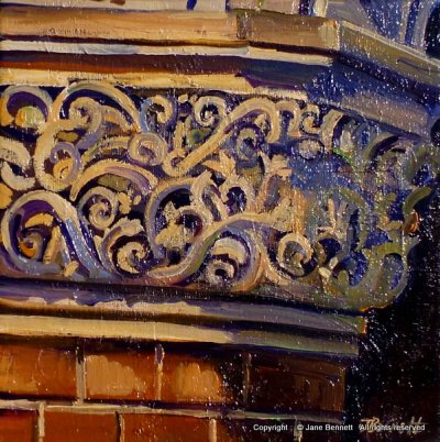 oil painting of heritage building 'Capital of column in the Sydney Technical College' 2012 oil on canvas 20x20cm by Jane Bennett, Artist