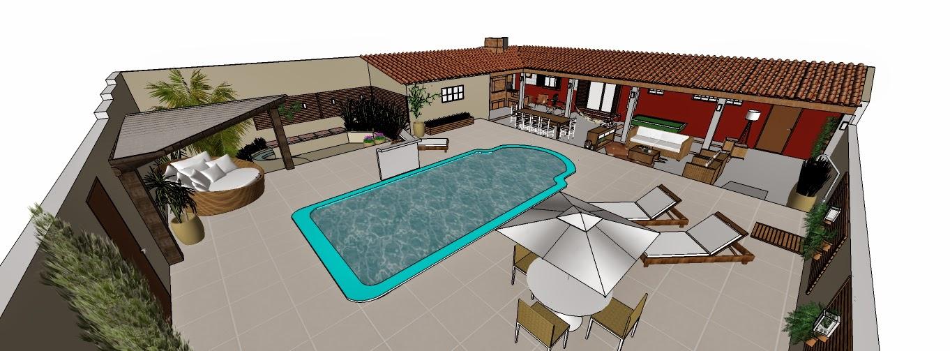 Jardim, piscina e área de churrasqueira  ARQUITETA CATARINA TOALDO