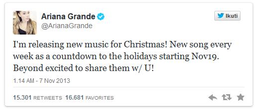 Ariana Grande Rilis Lagu Tiap Pekan Menuju Natal 2013