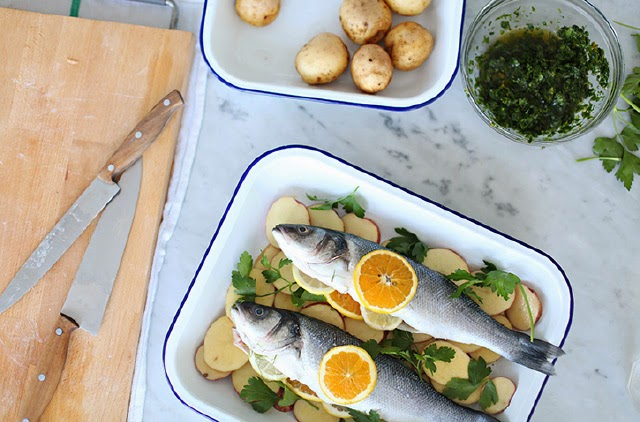 Enamelware beautifully presented fish supper