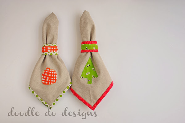 Holiday Napkin Rings Tutorial and Holiday Napkin Applique Pattern | Doodle Do Designs