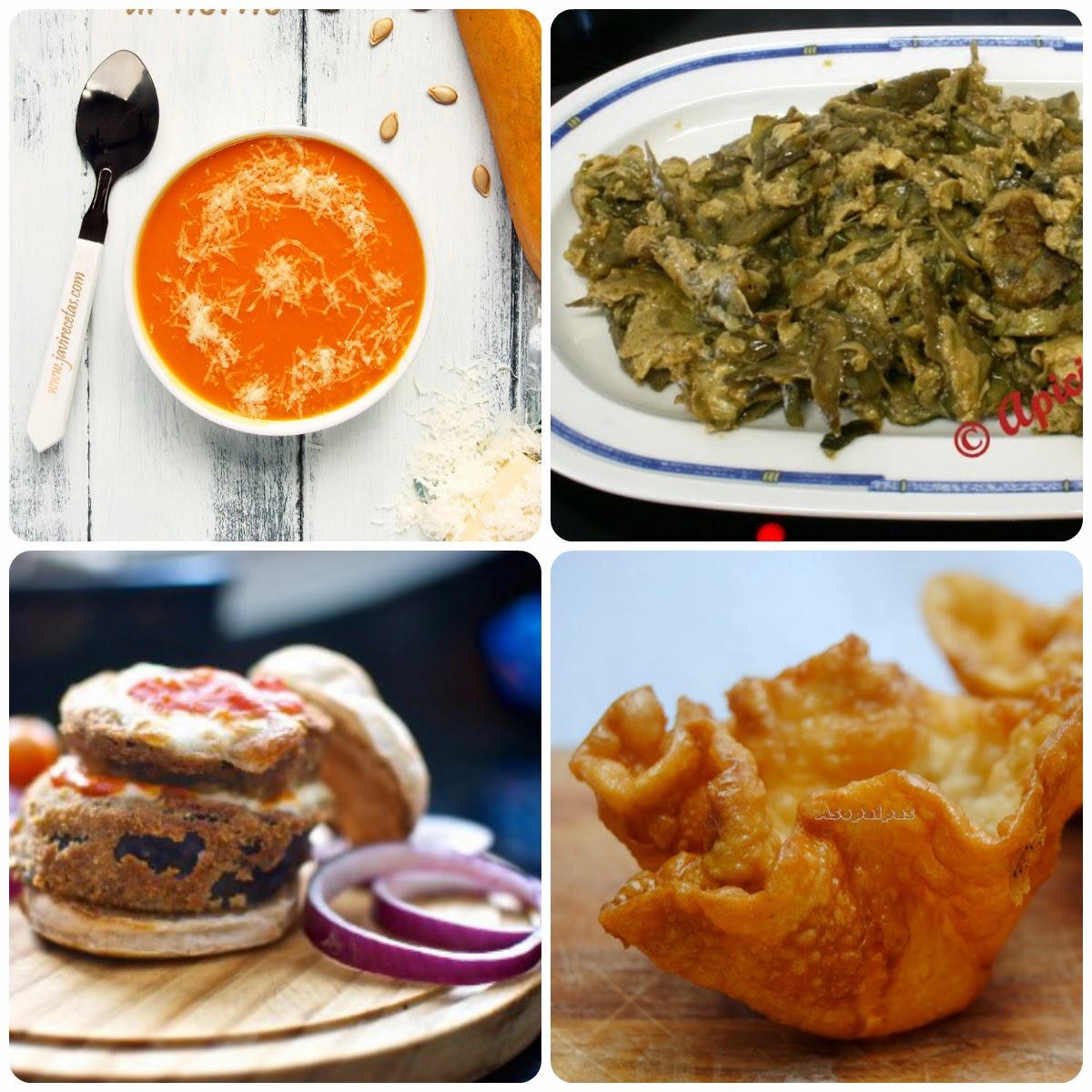 Quinto Menú vegetariano con recetas de otros blogs.