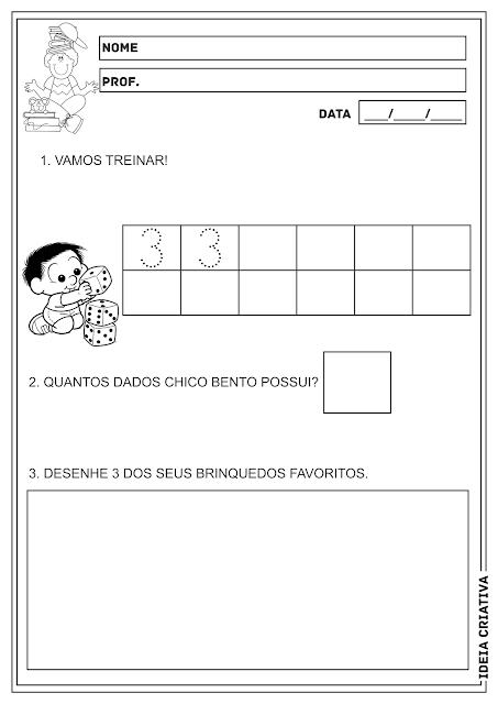 Número de 1 a 3 Atividade Matemática Educação Infantil