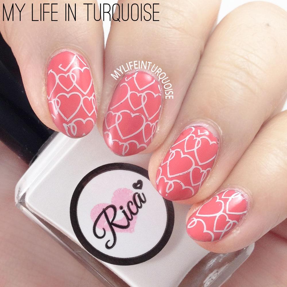 Stamped Hearts Nail Art