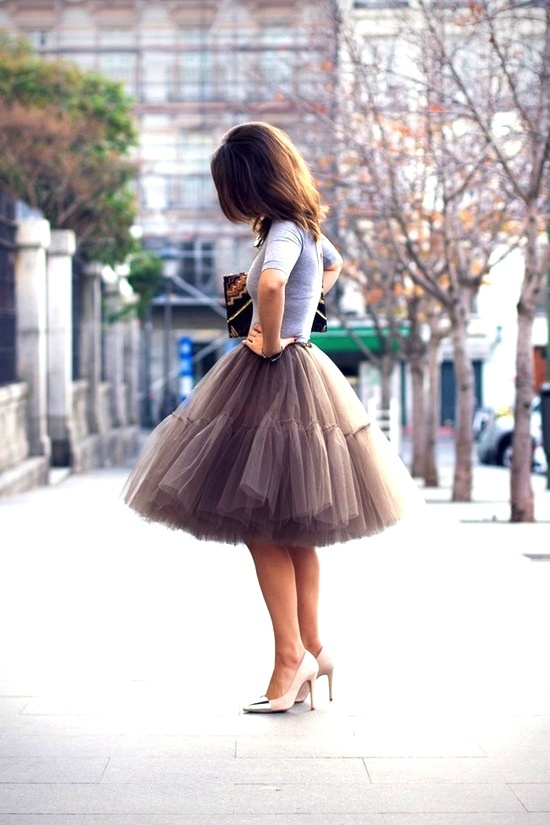 ... evening event with a fuller tulle skirt, pumps and fitted cardigan