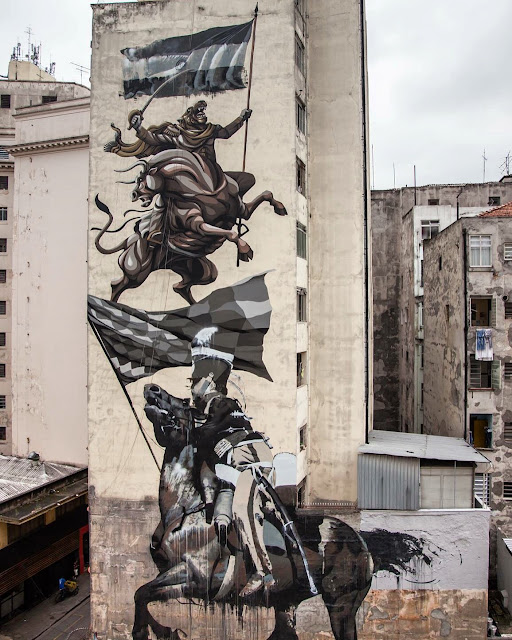Franco Fasoli and Conor Harrington recently completed a huge new mural as part of the O.bra street art Festival which took place in Largo do Arouche on the streets of Sao Paolo in Brazil.