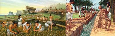 Gambaran sistem pengairan dan pertanian