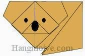 Bước 15: Vẽ mắt, mũi để hoàn thành cách xếp con gấu Koala bằng giấy đơn giản theo phong cách origami.