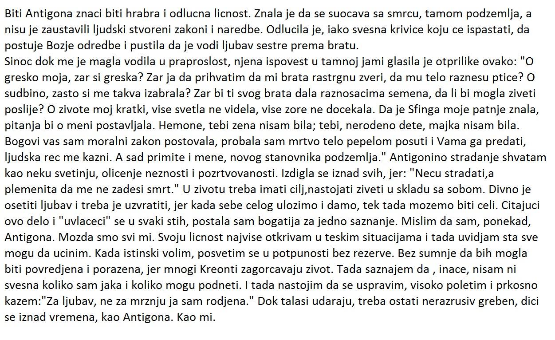 Opis Antigone Za Srednju Skolu Sastav Pismeni Iz Srpskog