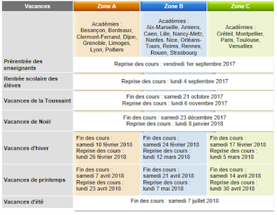 Vancances Scolaires 2017-2018
