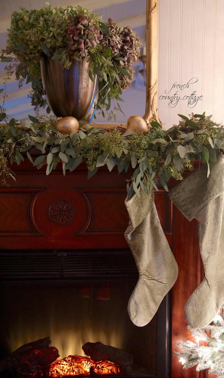 Country christmas mantel decor - Christmas Mantel French Hydrangeas Eucalyptus