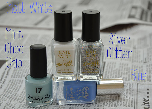 Blue White Pastel Mint Summer Nails Look Barry M Glitter Mix and Match