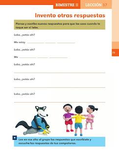 Apoyo Primaria Español 1er grado Bimestre 2 lección 17 Invento otras respuestas