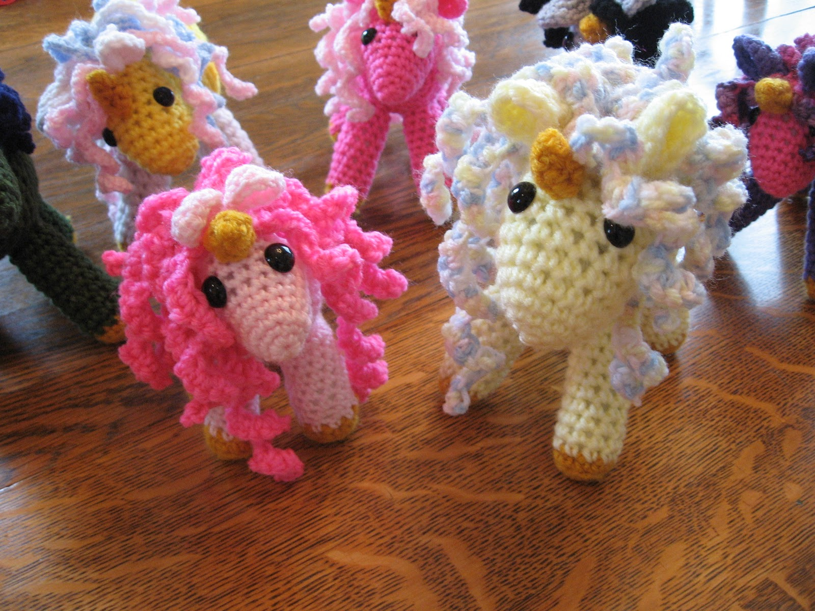 Free Amigurumi Unicorn Pattern : The crooked needle reuben the pink fluffy unicorn dancing on a