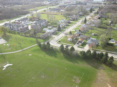 aerial view of houses, taken with a camera and kite