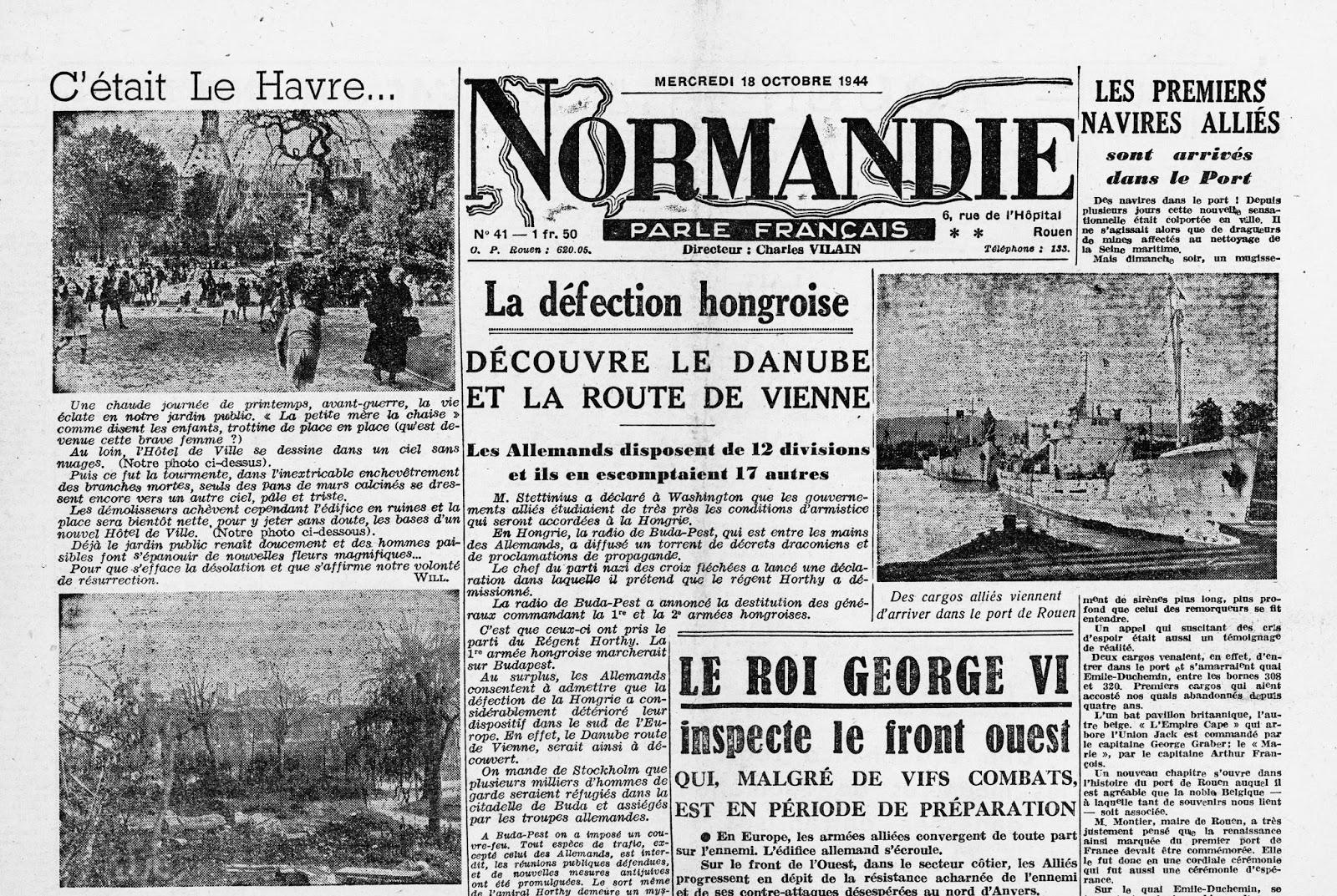 Ma tres du vent mdv 18 octobre 1944 les premiers cargos alli s sont arri - Journal en normandie ...