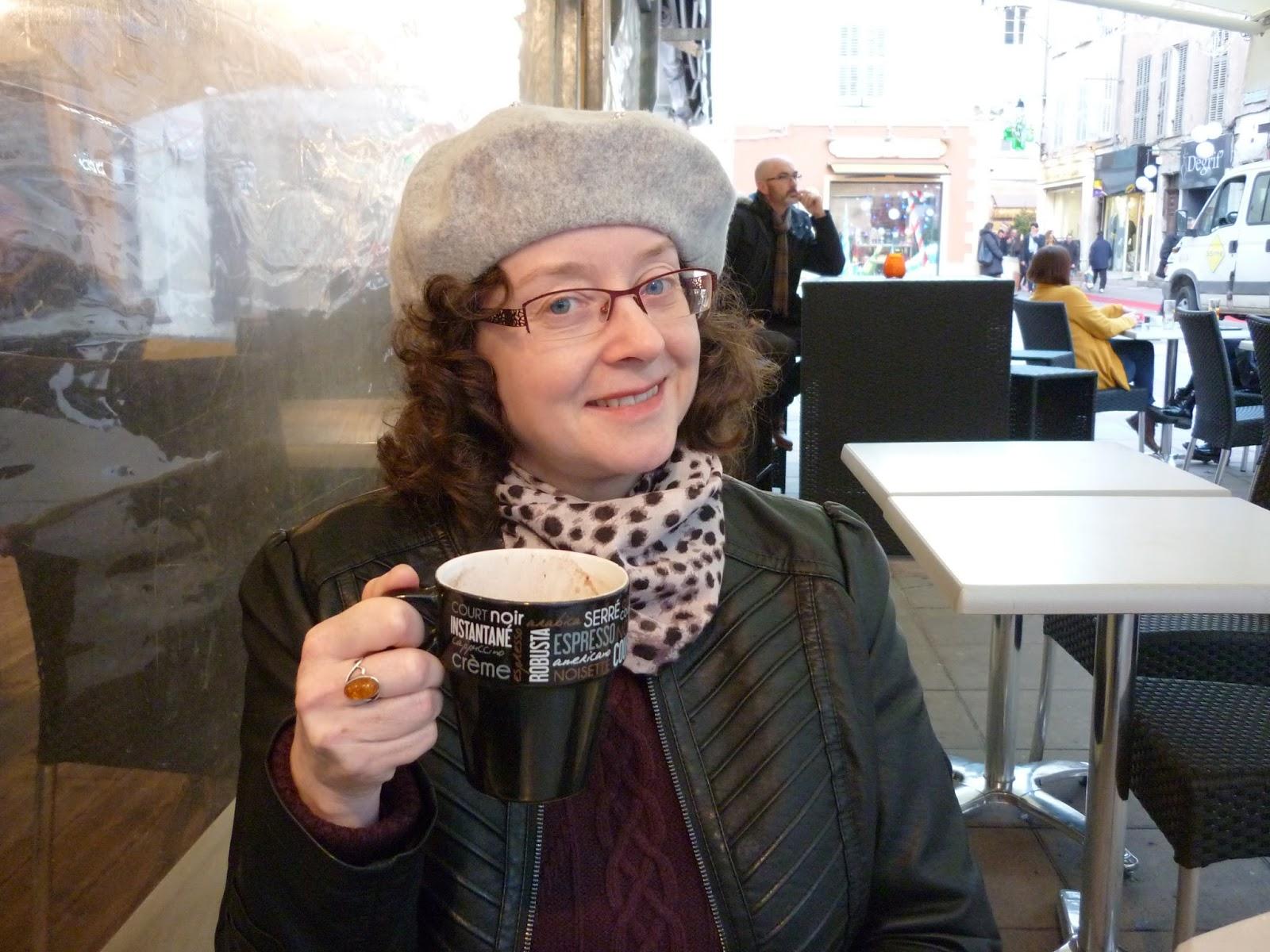 Drinking hot chocolate Wallis Petite Gothic Biker Jacket, Monsoon Beret | Petite Silver Vixen