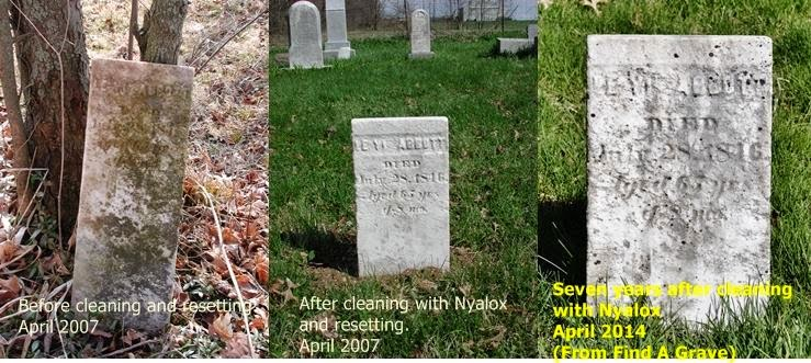 Detrimental Effects from Nyalox Nylon Brush Use on a Gravestone Can be Seen in a Few Short Years