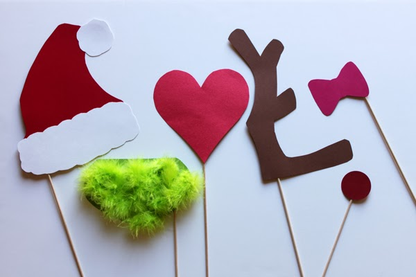 DIY photo booth props for a Grinch holiday party