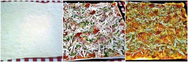 Preparación de la pizza campo y mar