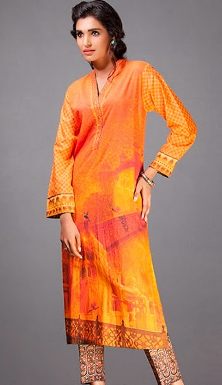 Gul Ahmed Winter 2014 Digital Printed Dresses