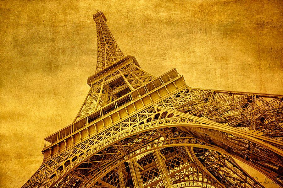 Golden light photograph with texture of the Eiffel Tower