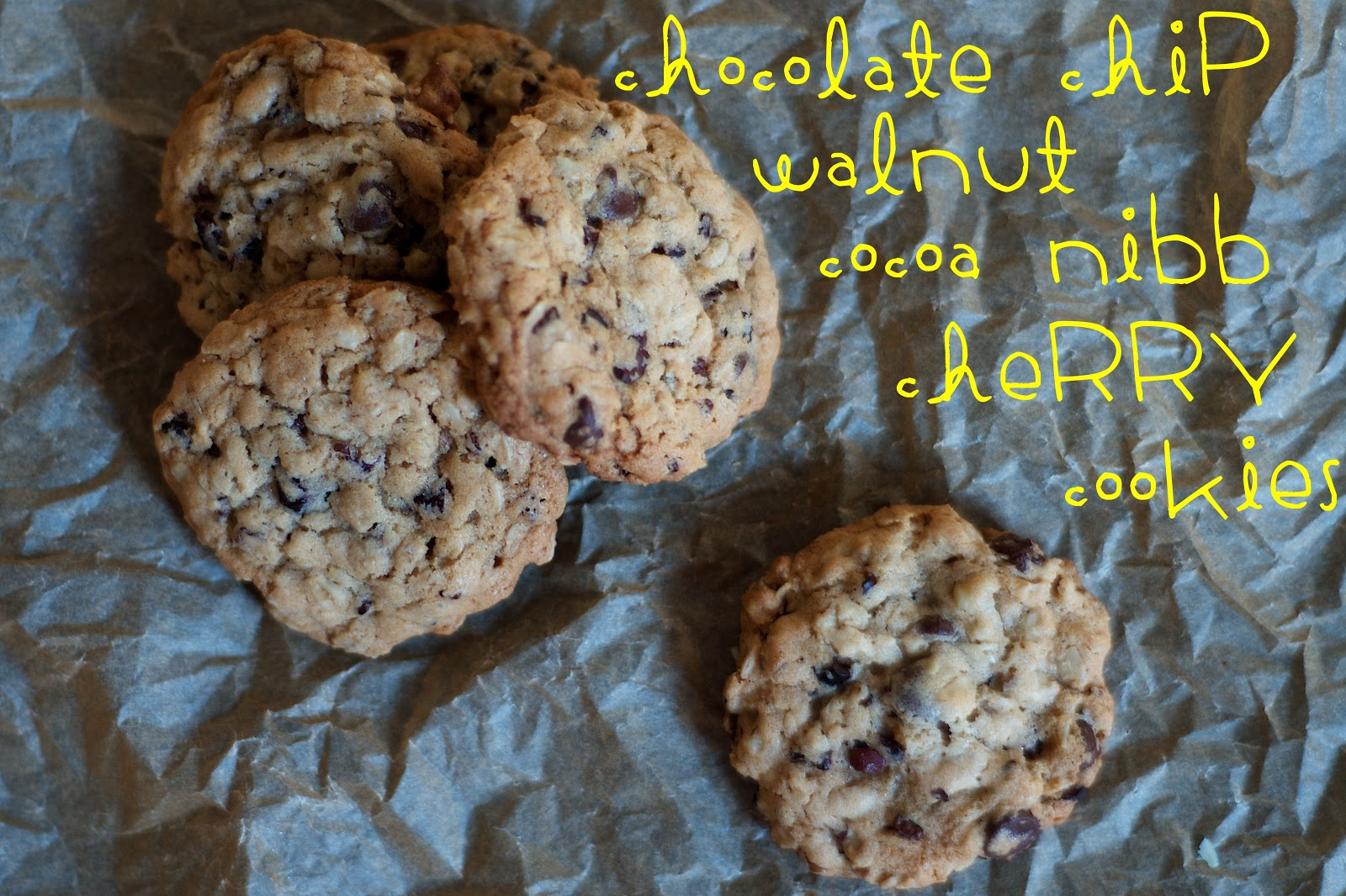 The Ginger Cook: Chocolate Chip Walnut Cocoa Nib Cherry Cookies