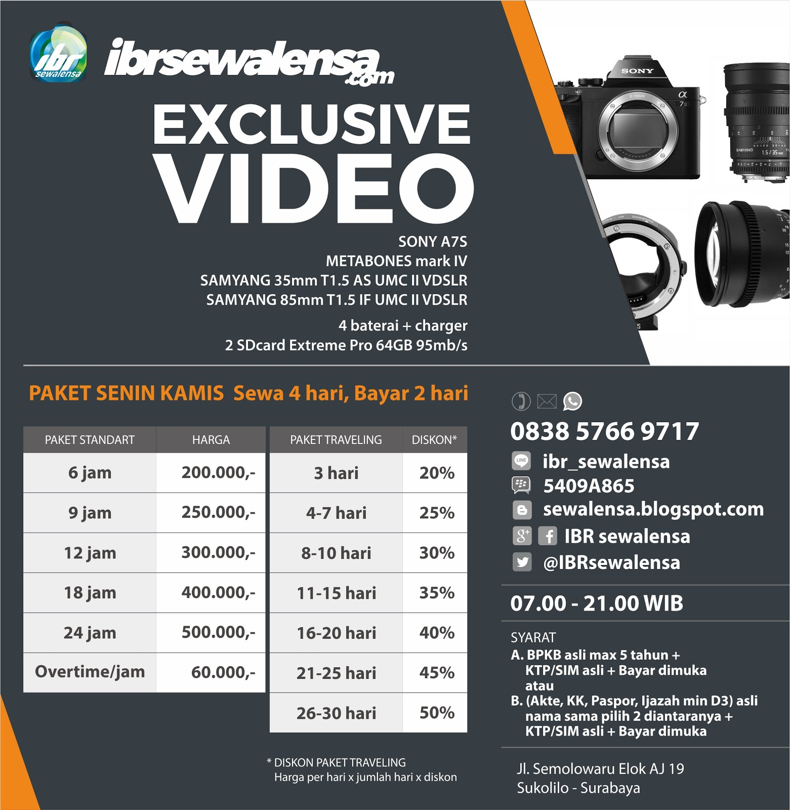 Sewa Rental Kamera & Lensa, Paket Exclusive Video