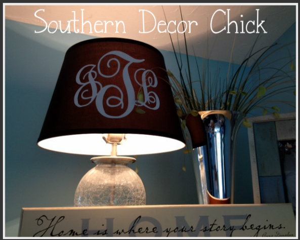 Southern decor chick monogrammed lamp shade as you can tell i love our monogram on everything my theory is is that if you mongoram everything then no one will ever take anything from you unless mozeypictures Images