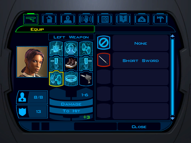 Knights of the Old Republic inventory screen